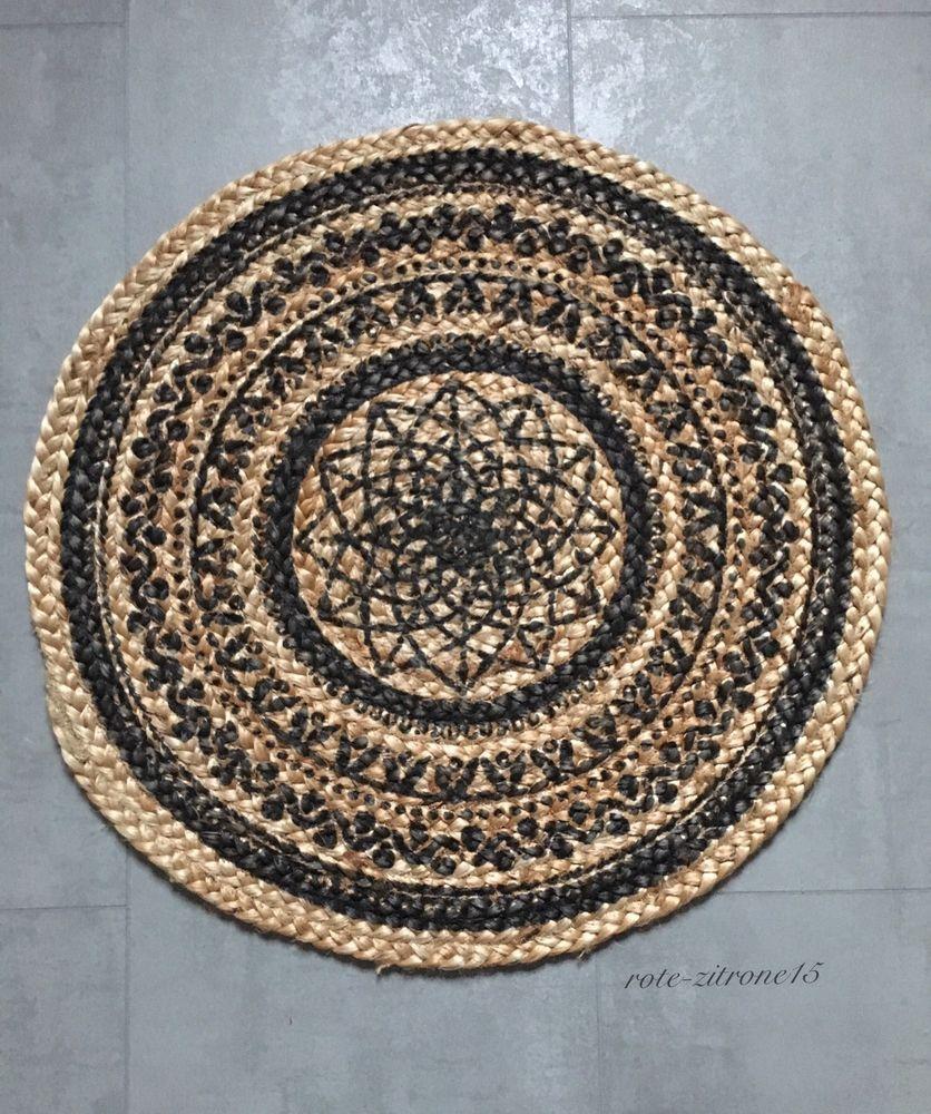 Teppich Rund 100 Jutte Mandala Muster Boho Bohemian Vorleger Neu