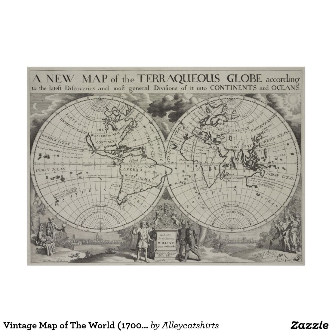 Vintage Map of The World (1700) 2 Poster | Vintage Map Posters ...