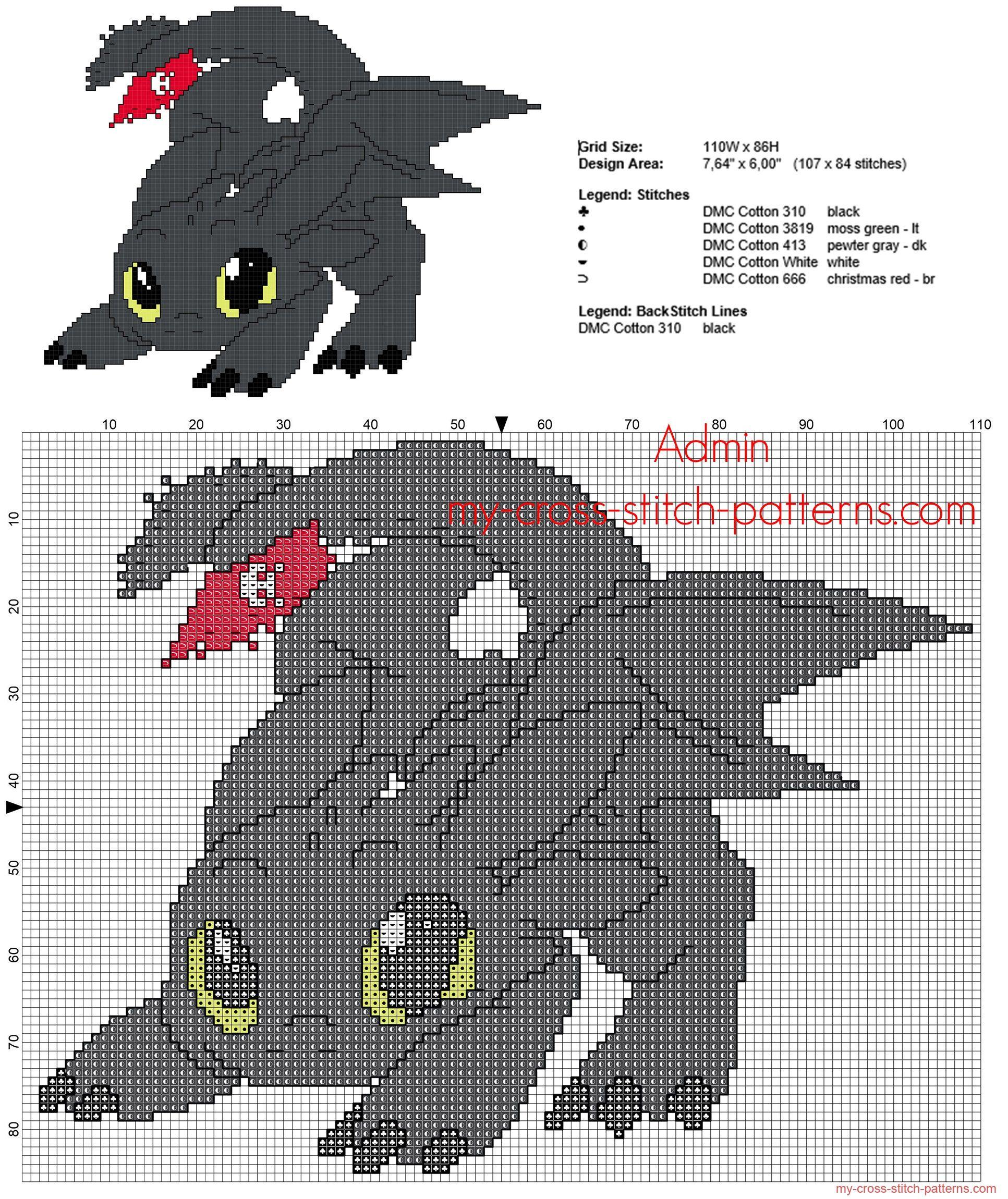 Patron punto de cruz el dragón Furia Nocturna de Cómo entrenar a tu ...