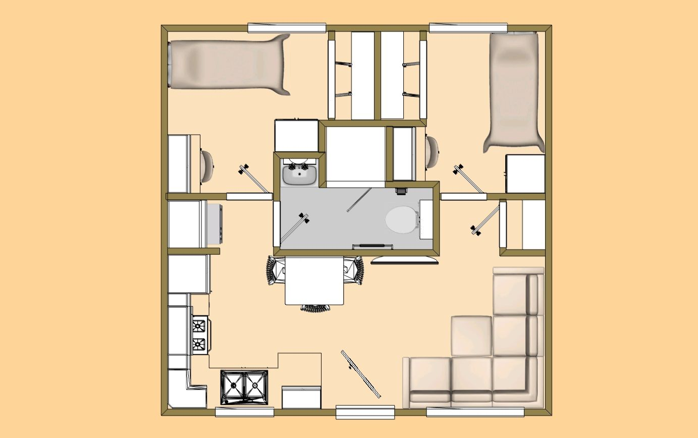 A 20 X 20 400 Sq Ft 2 Bedroom With 3 4 Bath That I M Calling The