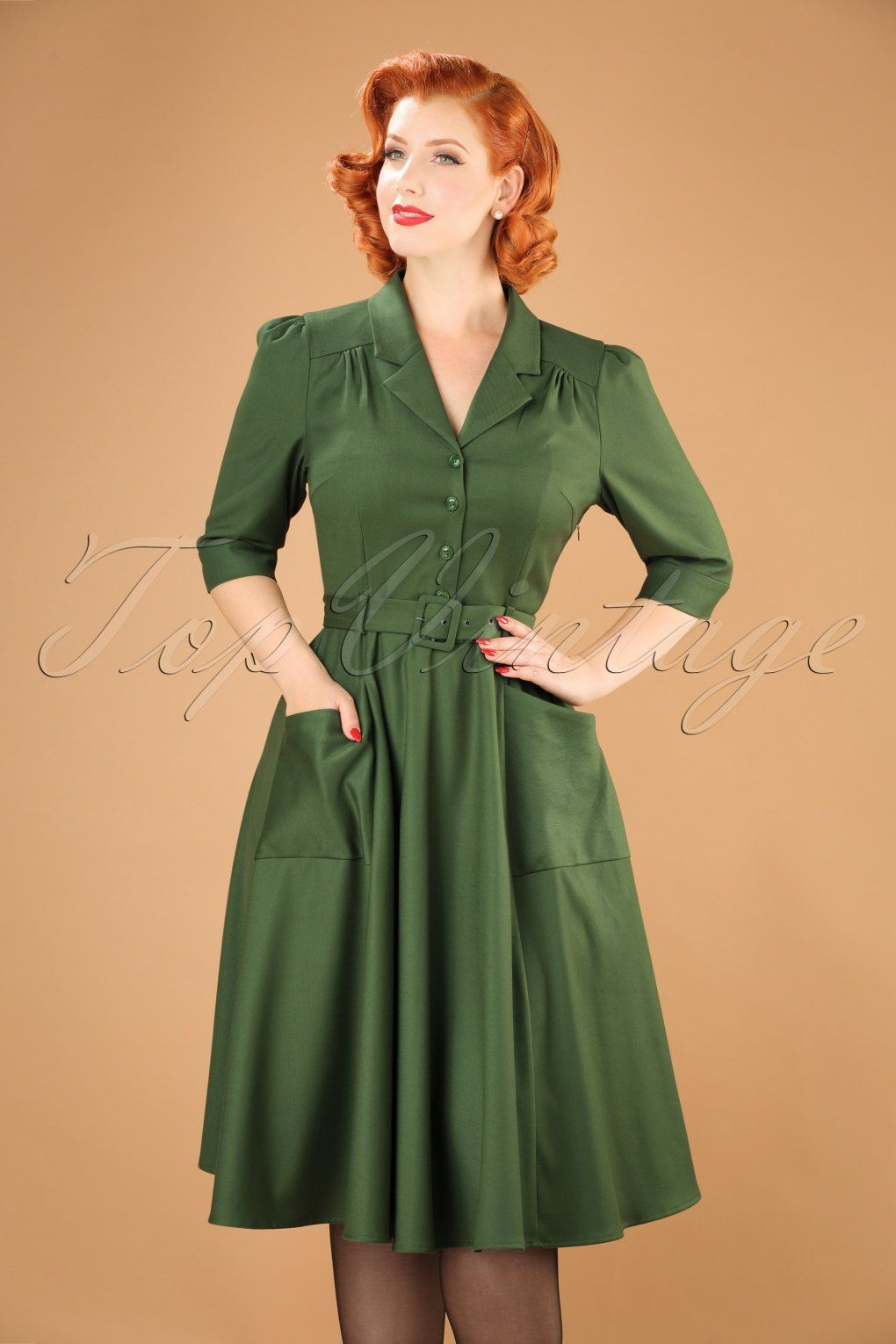 This 40s Alexandria Swing Dress In Green Oozes Vintage There Are So Many Things We Could Say About This Beauty But The Image A Swing Dress Dresses Shirt Dress [ 1530 x 1020 Pixel ]