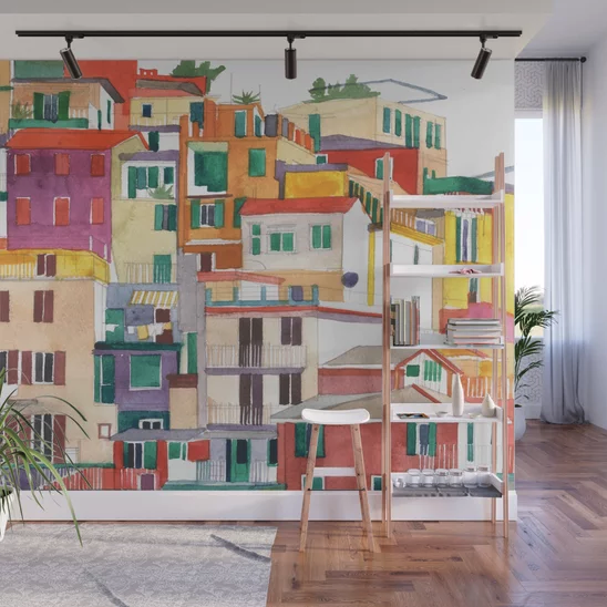 """Cinque Terre"" Wall Mural by takmaj on Society6 