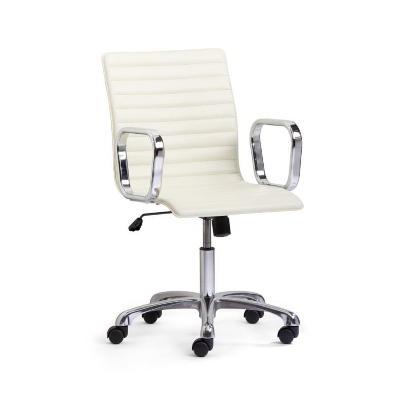 Ripple Ivory Leather Office Chair With Chrome Base Reviews Crate And Barrel Canada Leather Office Chair Black Leather Office Chair Office Chair