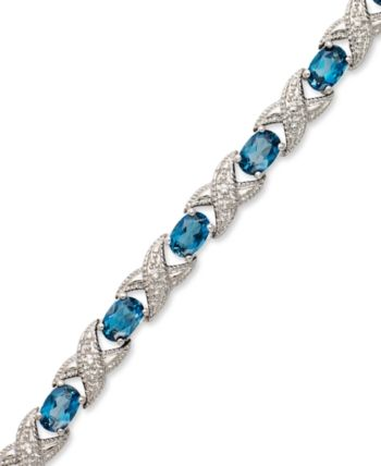 96b5bf5133d81 London Blue Topaz (7-1/2 ct. t.w.) and Diamond Accent Xo Bracelet in ...