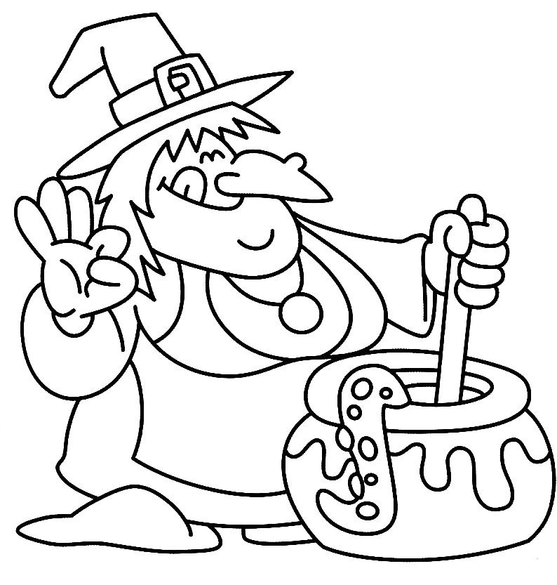 I have download Witch Spooky Cooking Alone Coloring Page