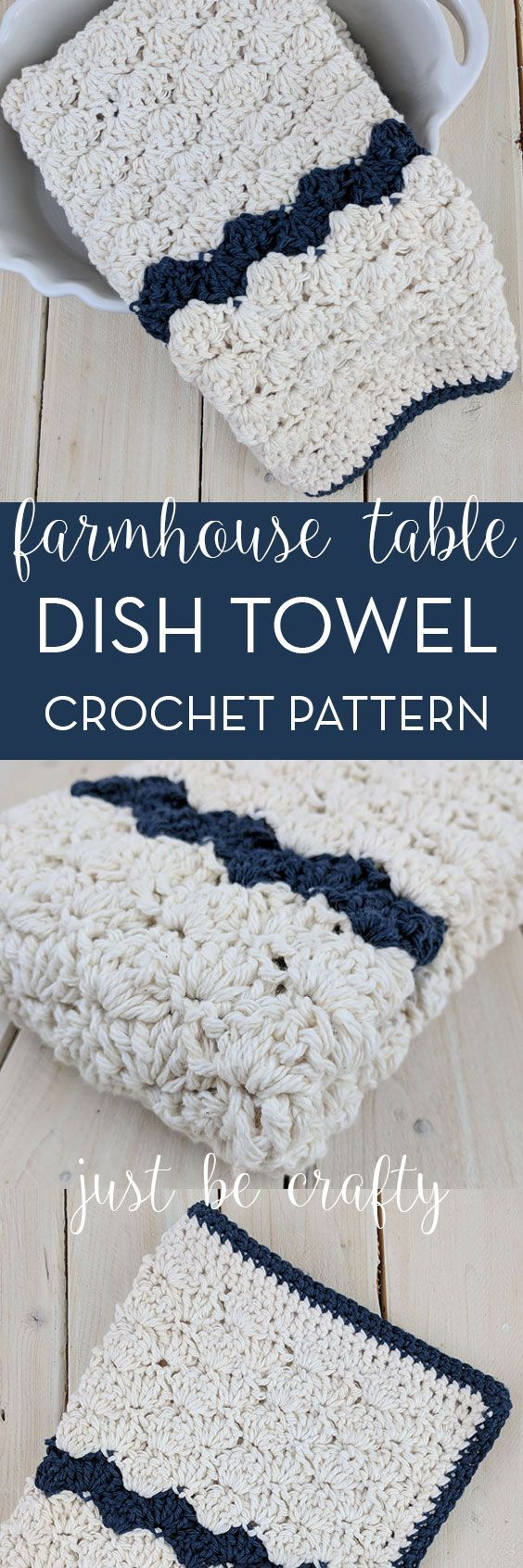 Crochet Farmhouse Table Dish Towel Pattern | Free pattern, Crafty ...