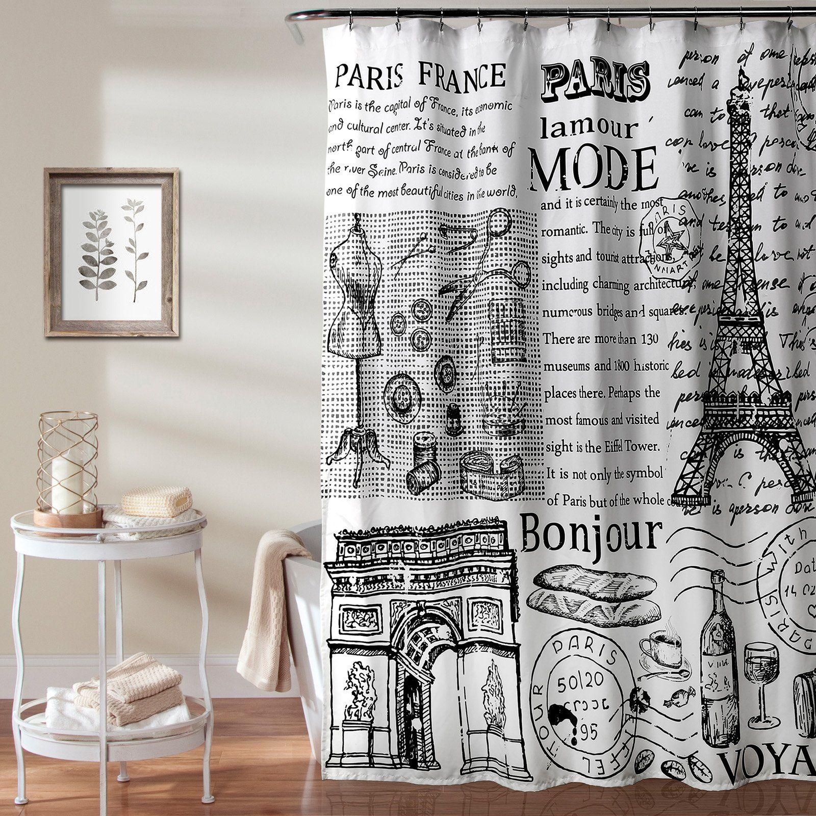 Lush Decor Paris France Fabric Shower Curtain