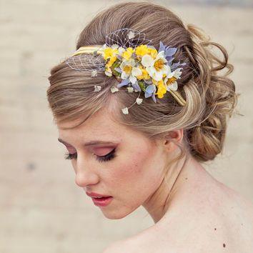 Spring flowers headband, headbands for women and weddings, wedding hair, Bridal Hair Accessory, Wedding Accessories, Bridesmaid Hair Flower