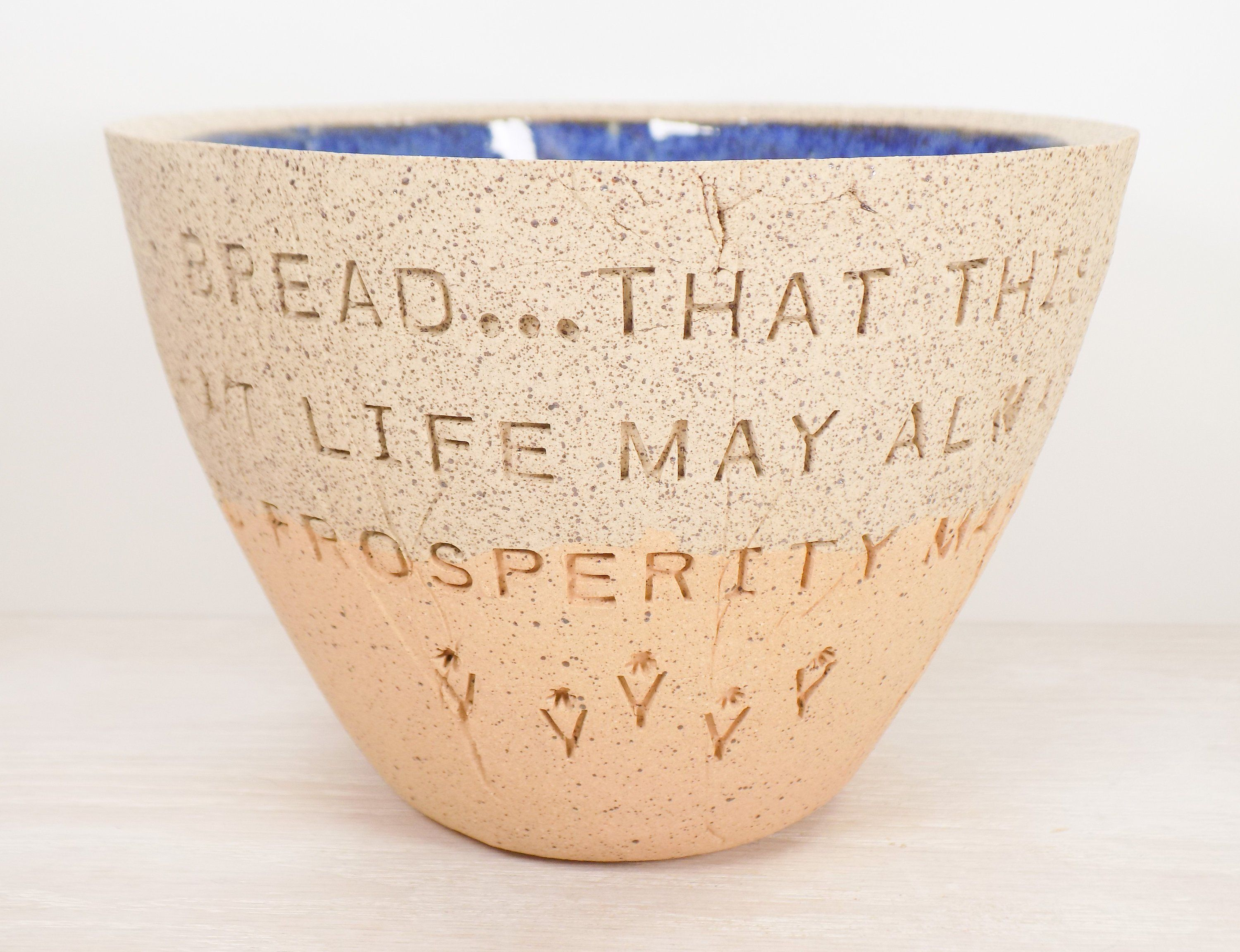 Bread salt wine quote pottery bowl blessing pottery bowl