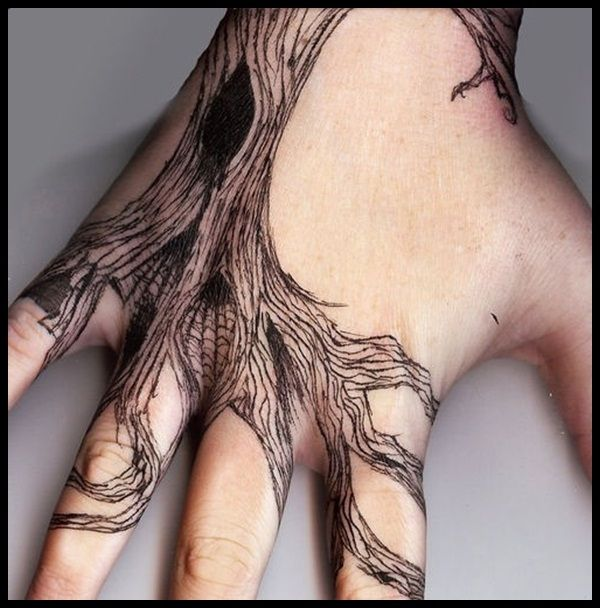 Awesome Traditional Tree Tattoo Designs On Hand For Men Hand Tattoos Foot Tattoos Tattoos For Guys