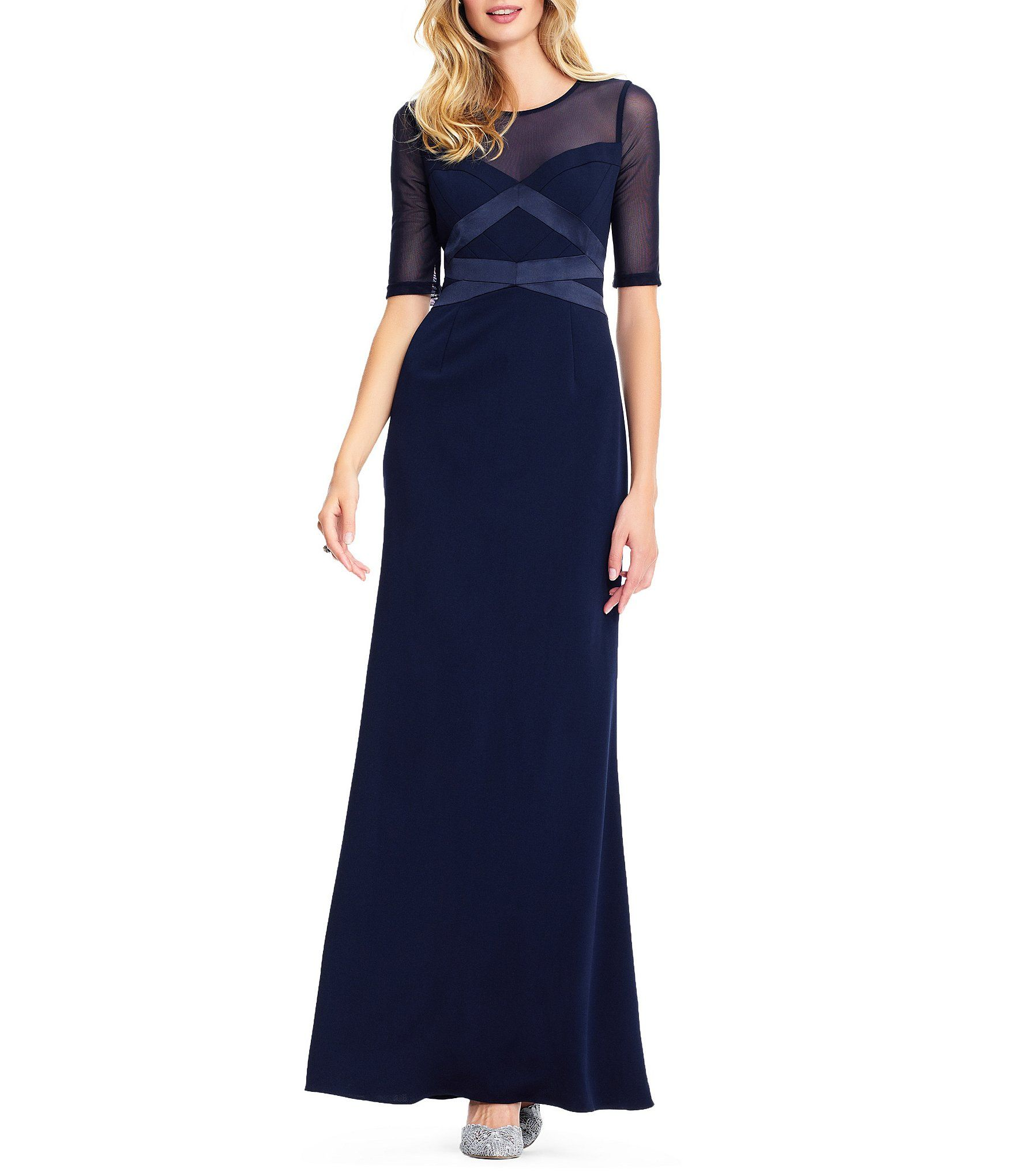 Shop For Adrianna Papell Long Knit Illusion Neckline Crepe Dress At