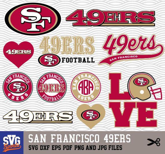 San Francisco 49ers Svg Logos Monogram Silhouette By Svgsports San Francisco 49ers San Francisco 49ers Logo 49ers