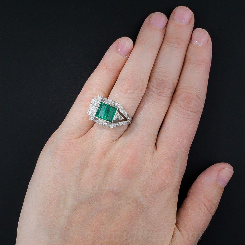 Retro Emerald and Diamond Ring | Engagement rings | Pinterest ...