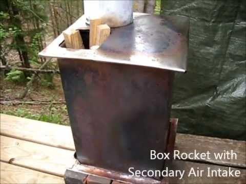 Rocket Stove Ideas 32 Box Rocket With Secondary Air Intake Youtube Rocket Stoves Wood Burning Stove Alternative Heating