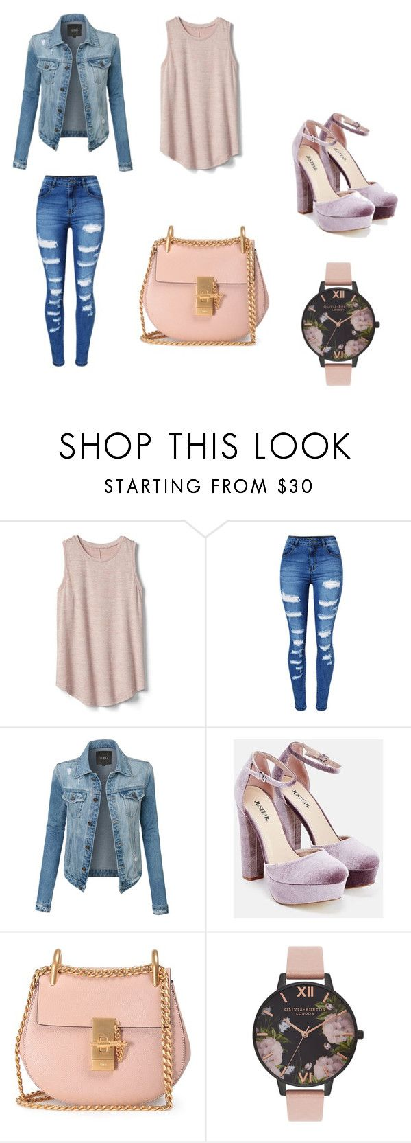 """Untitled #2"" by arminaa7 ❤ liked on Polyvore featuring Gap, WithChic, LE3NO, JustFab, Chloé and Olivia Burton"