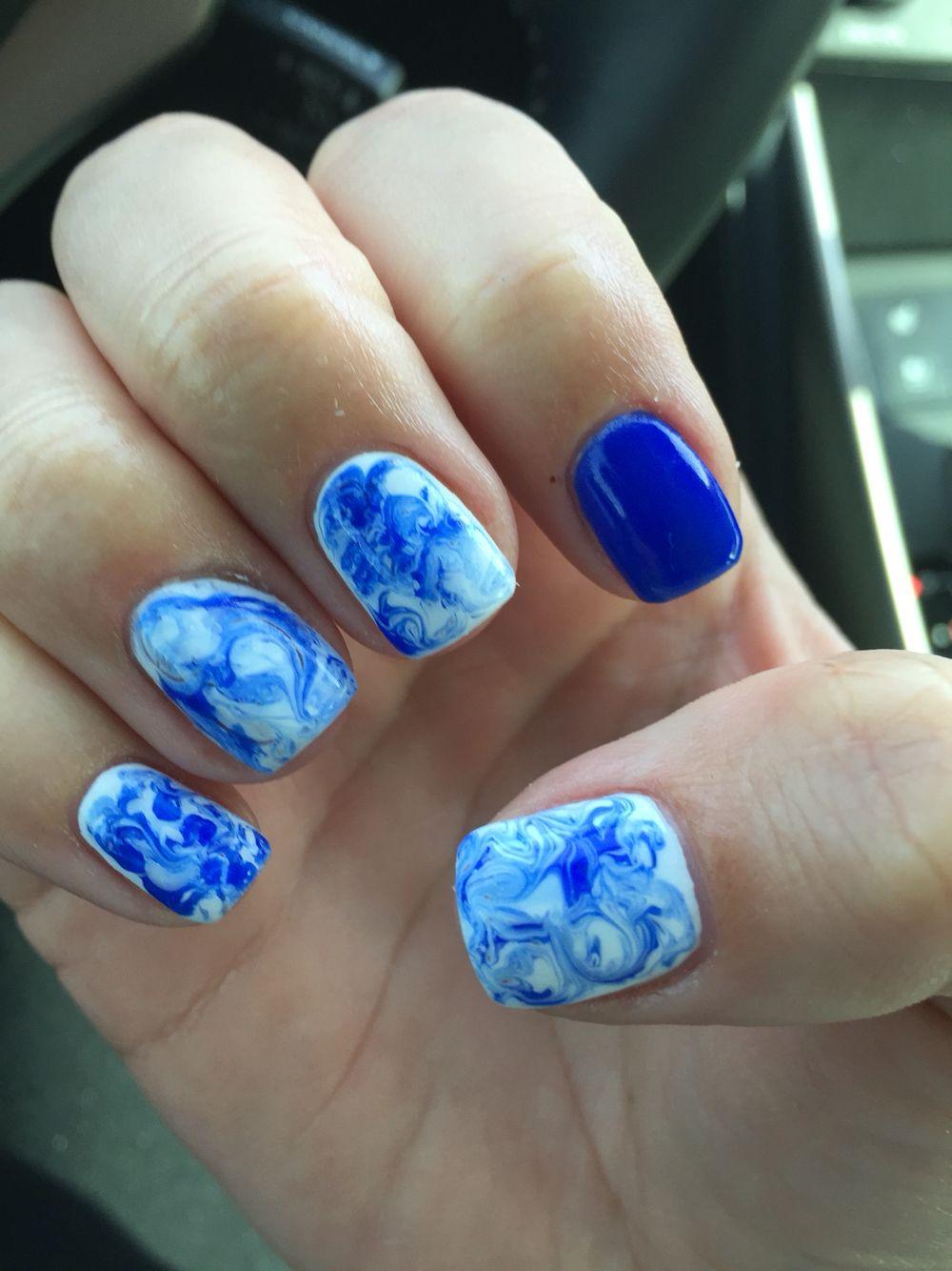 Navy Blue Marble Gel Nail Design Love Gel Nails French Gel Nails Gel Nail Design