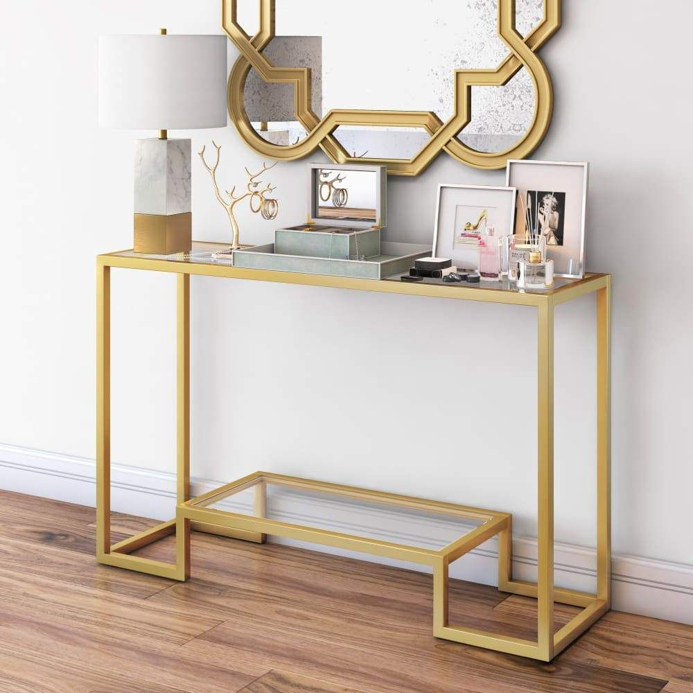 Gold Console Table In 2021 Glass Console Table Contemporary Console Table Gold Console Table