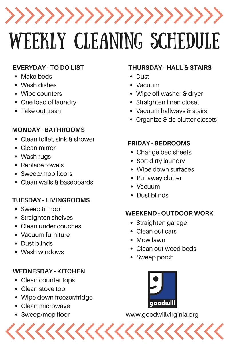 Goodwill Has Made Cleaning Your Home Easy With Our Weekly Schedule