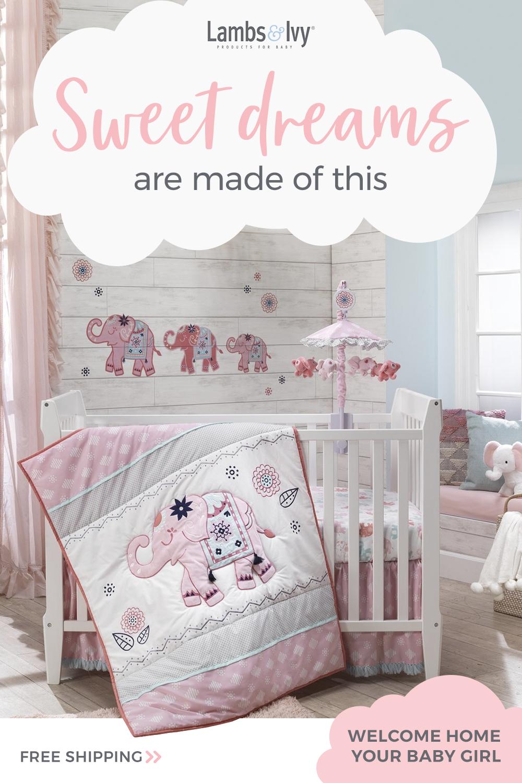 Boho Elephant Pink Gray White Nursery 5 Piece Baby Crib Bedding
