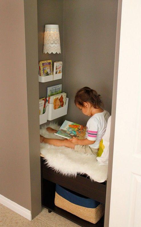 nook storage plans kids reading nook added to a closet sliding closet doors