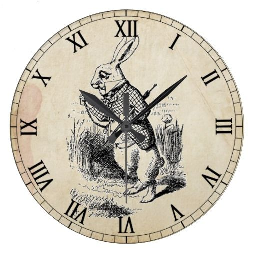 Antique White Rabbit Roman Numeral Wall Clock Zazzle Com