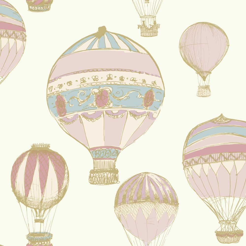 Grandeco Hot Air Balloons Pattern Stripe Metallic Wallpaper A11101