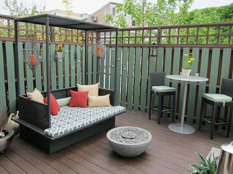 cama mimbre terraza jardin negra Jardín Pinterest