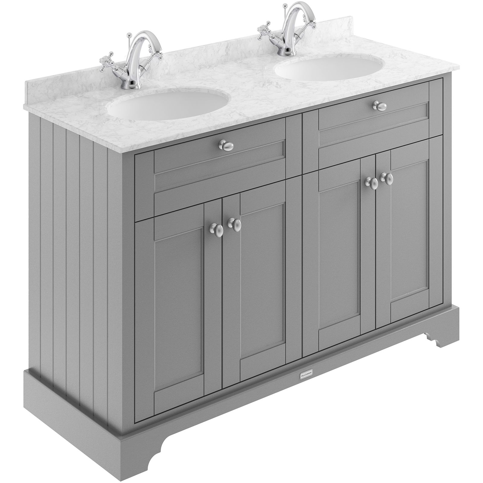 Balterley Harrington 1200mm Cabinet With 1 Tap Hole Grey Double Marble Top Grey At Homebase Vanity Units Traditional Bathroom Furniture Traditional Bathroom