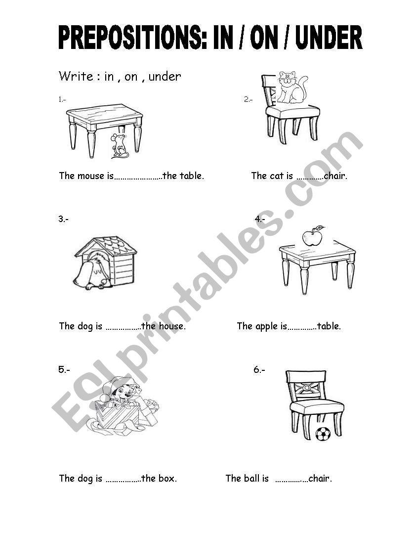 PREPOSITIONS IN / ON / UNDER worksheet 1st grade