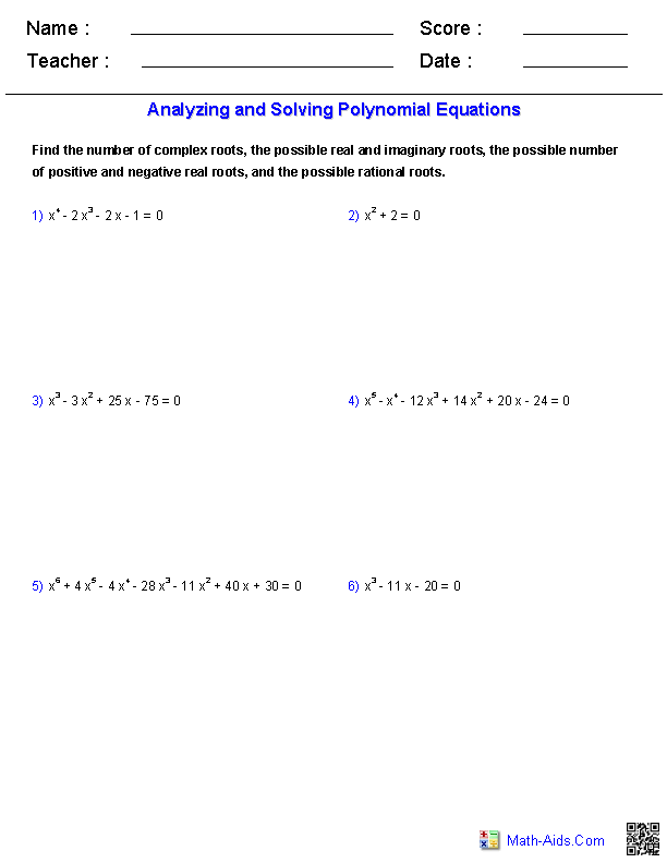 Analyzing and Solving Polynomial Equations Worksheets – Solving Polynomial Equations Worksheet