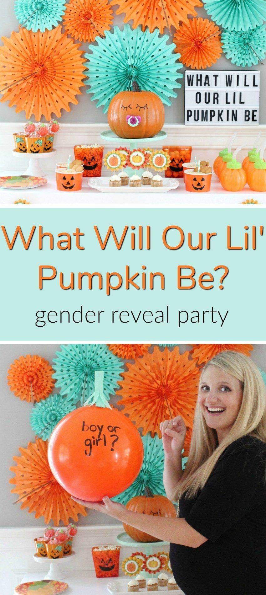 30 Baby Shower Ideas To Jazz Up Your Decor And Food Halloween Gender Reveal Fall Gender Reveal Party Gender Reveal Party