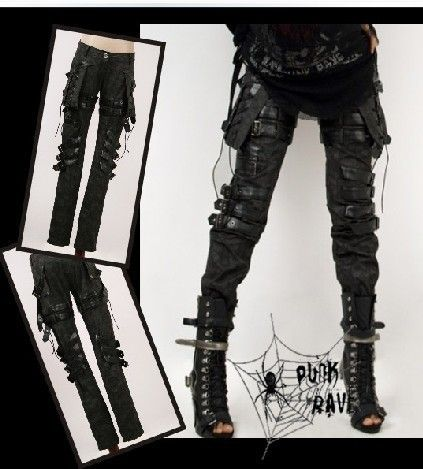 Chic Mens Harem Pants Hip Hop Casual Rave Gothic Visual Rock Rivet Trousers punk