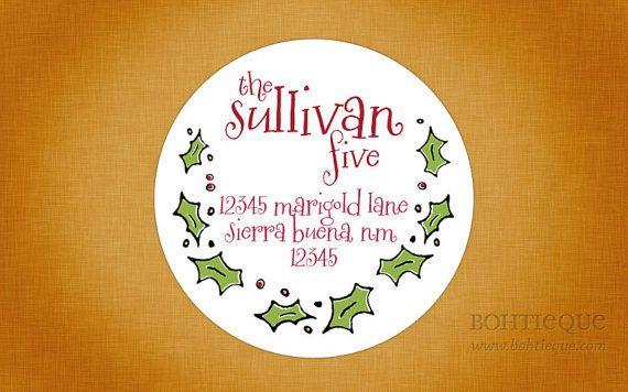 christmas labels holiday labels return address labels envelope