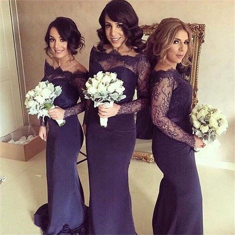 Fabulous Off-the-shoulder Long Sleeves Dark Navy Bridesmaid Dress ...
