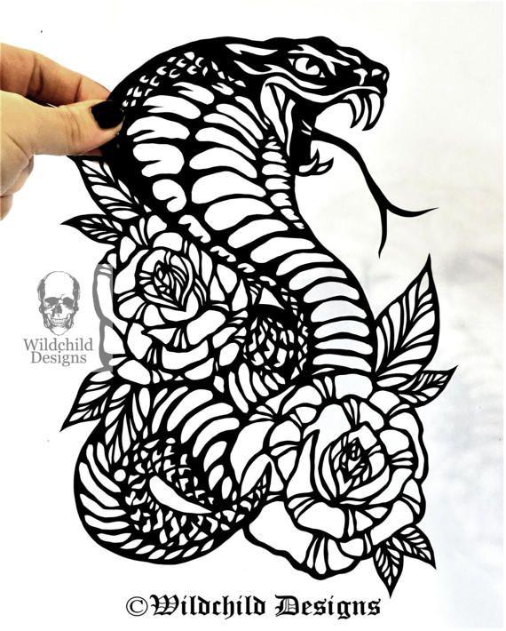 Traditionelle Cobra Rosen Tattoo Papier Schneiden Vorlage