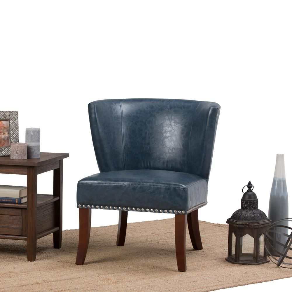Best Simpli Home Jamestown Denim Blue Bonded Leather Accent 400 x 300