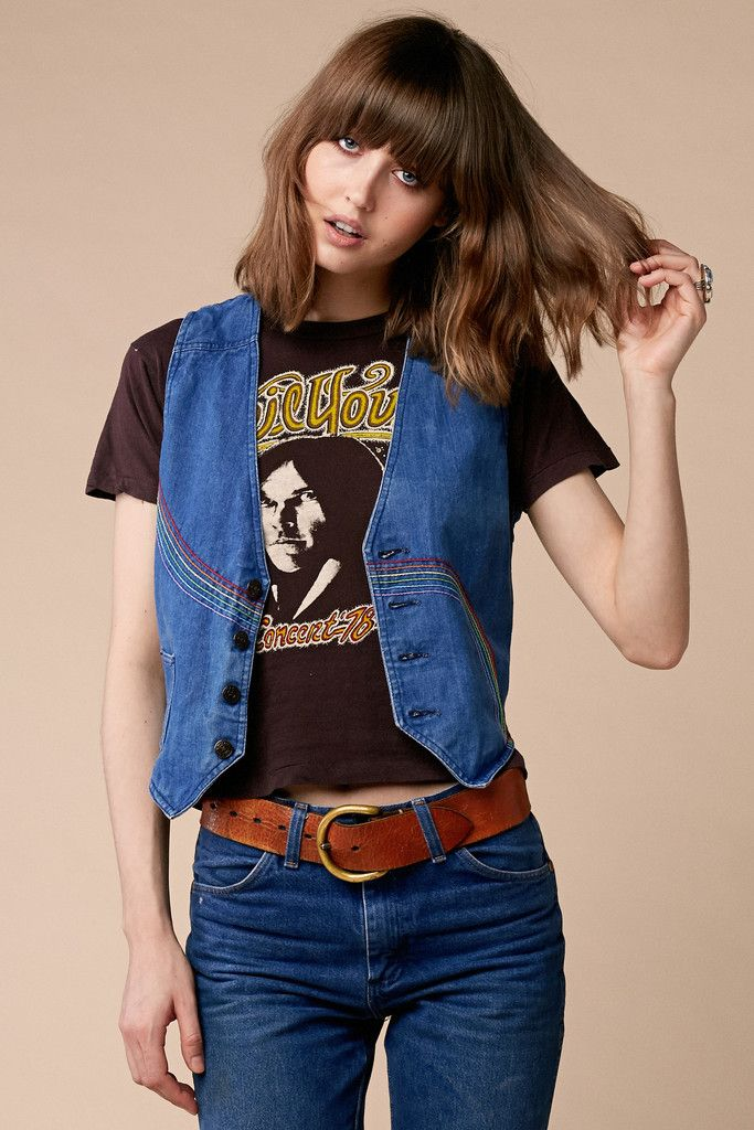 Rainbow Rollerway Denim Vest Stoned Immaculate Vintage Clothing Blogs Fashion Denim
