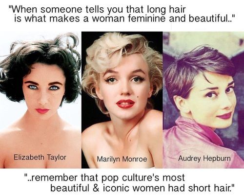 Audrey Hepburn Elizabeth Taylor And Marilyn Monroe Image Short Hair Quotes Short Hair Styles Hair Quotes