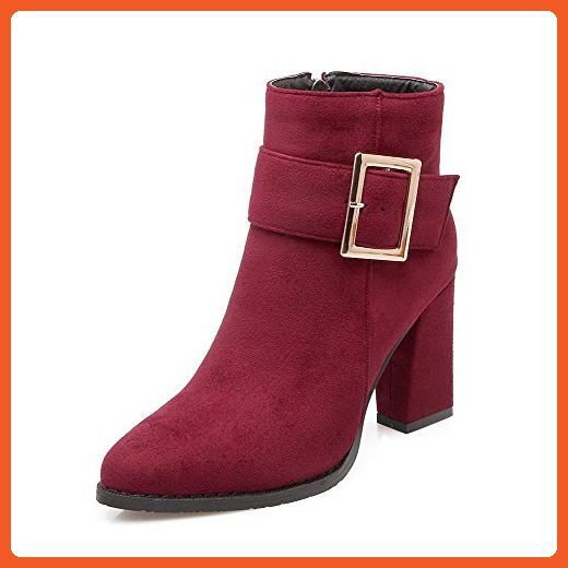 Women's High-Heels Pointed Closed Toe Imitated Suede Low-Top Solid Zipper Boots Gray-Buckle 37