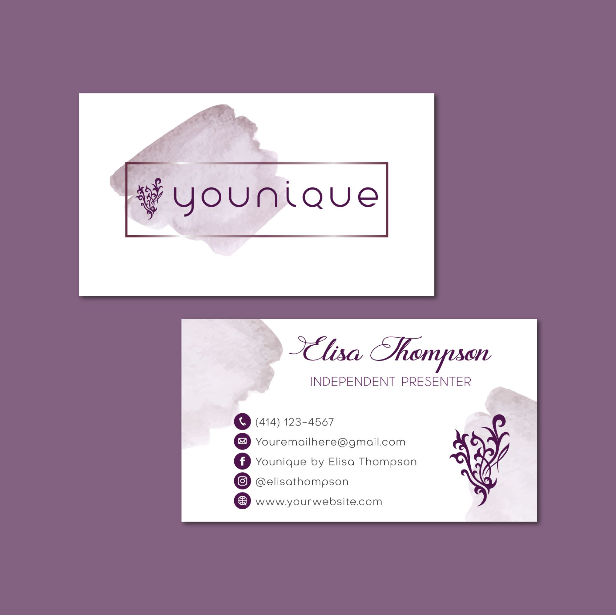 Watercolor Personalized Younique Business Cards Younique Printable Cards Custom Business Card Younique Business Cards Yq14 Younique Business Cards Younique Business Custom Business Cards