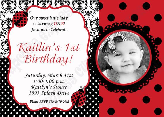 DIY Ladybug Birthday Party PRINTABLE Photo Invitation 5x7 4x6 red