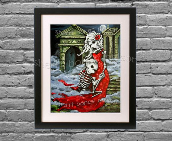 Day Of The Dead Wedding Gifts: Romantic Gothic Art Print. Skeleton Couple. Gothic Wedding