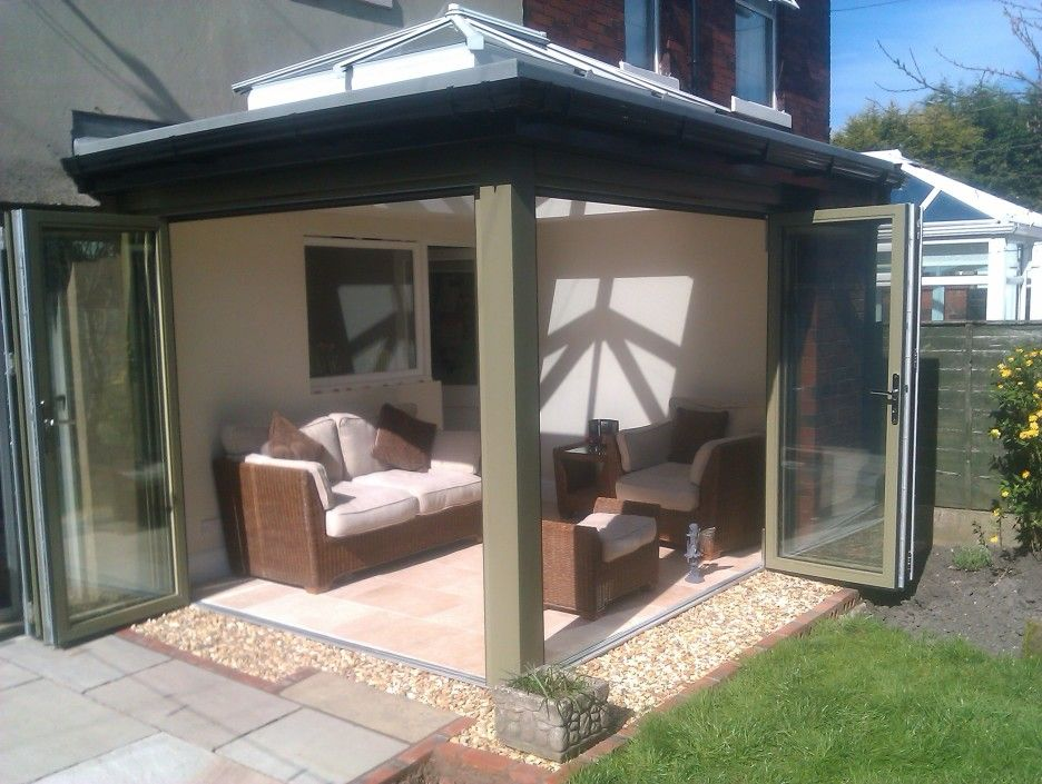 Exterior. Double Bi Fold Glass Patio Door In Sun Room Exterior Decoration.  Beautiful Bi