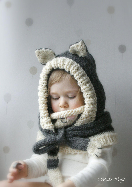 KNITTING PATTERN cat hood and cowl set Simba (baby, toddler, child ...