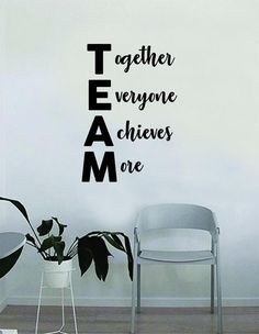 Team Together Everyone Achieves More Quote Decal Sticker Wall Vinyl Art Home Room Decor Teacher School Classroom Science Work Office Job