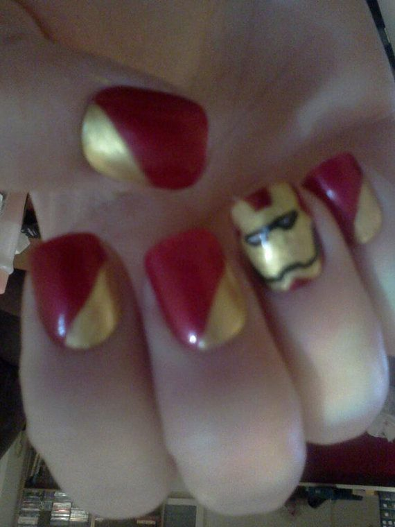Iron Man Acrylic Nails by RockinRaquels on Etsy, $7.00