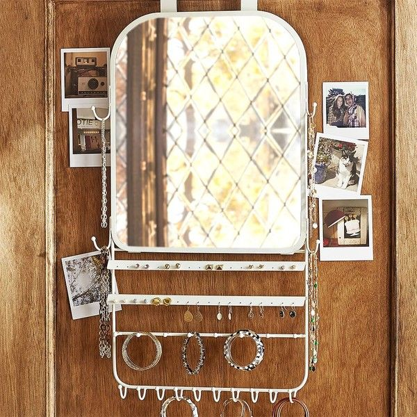 PB Teen Over The Door Jewelry Organizer Mirror White Metal 80