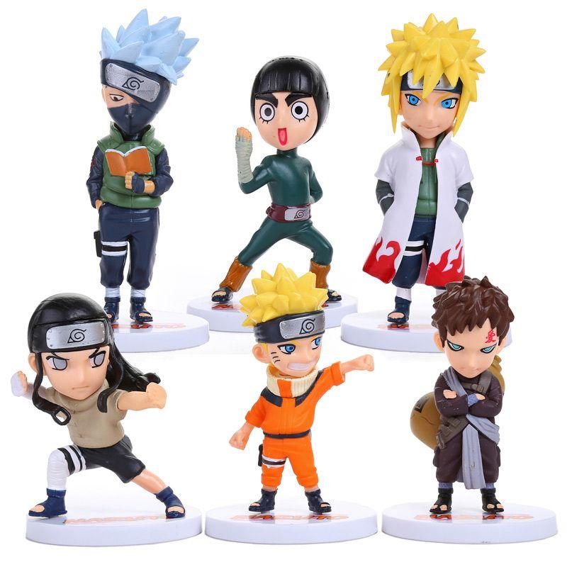 6pcs Set Anime Naruto Action Figures Naruto Kakashi Gaara Rock Lee