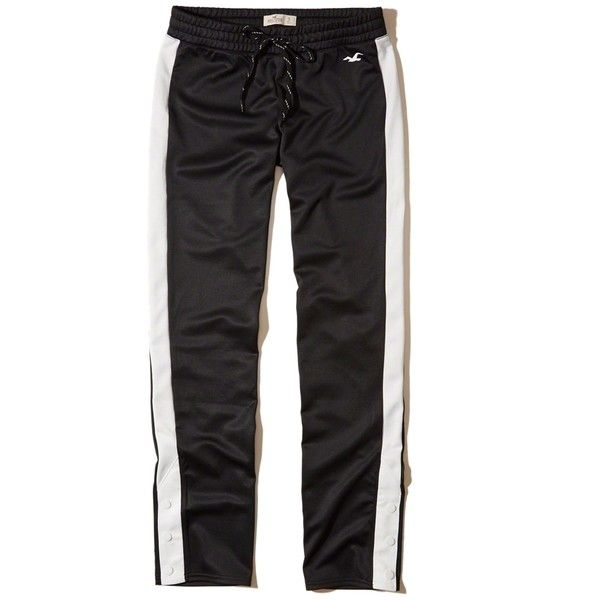 Hollister Side-Snap Graphic Track Pant (226120 PYG) ❤ liked on Polyvore featuring activewear, activewear pants, black and track pants