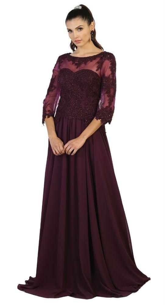 Modest Long Mother Of The Bride Dress Plus Size Formal Evening Gown